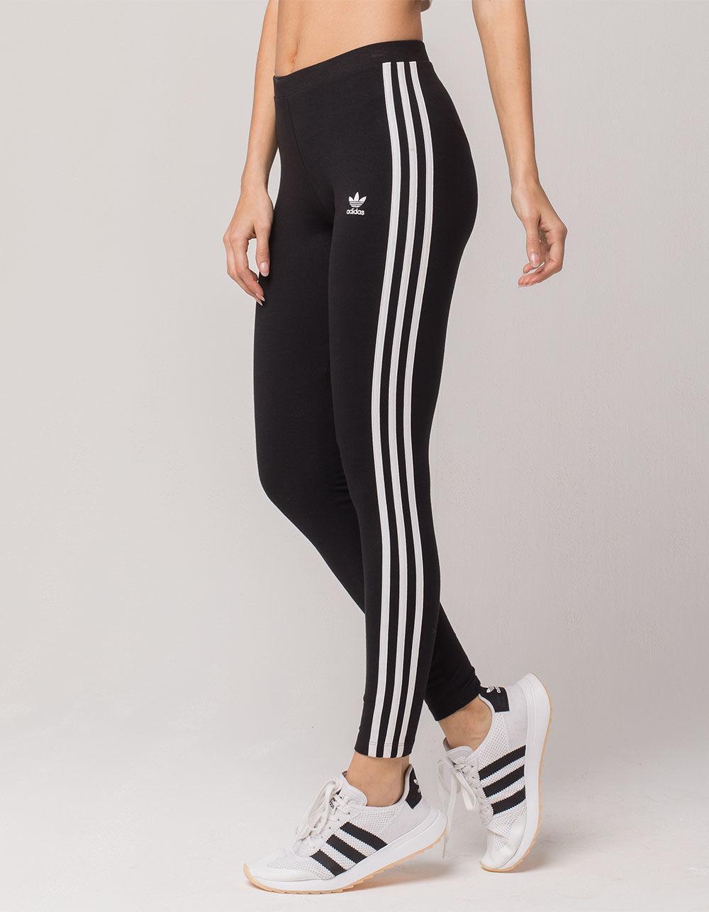 f36a00ca68e96 adidas 3 Stripes Womens Leggings in Black - Lyst