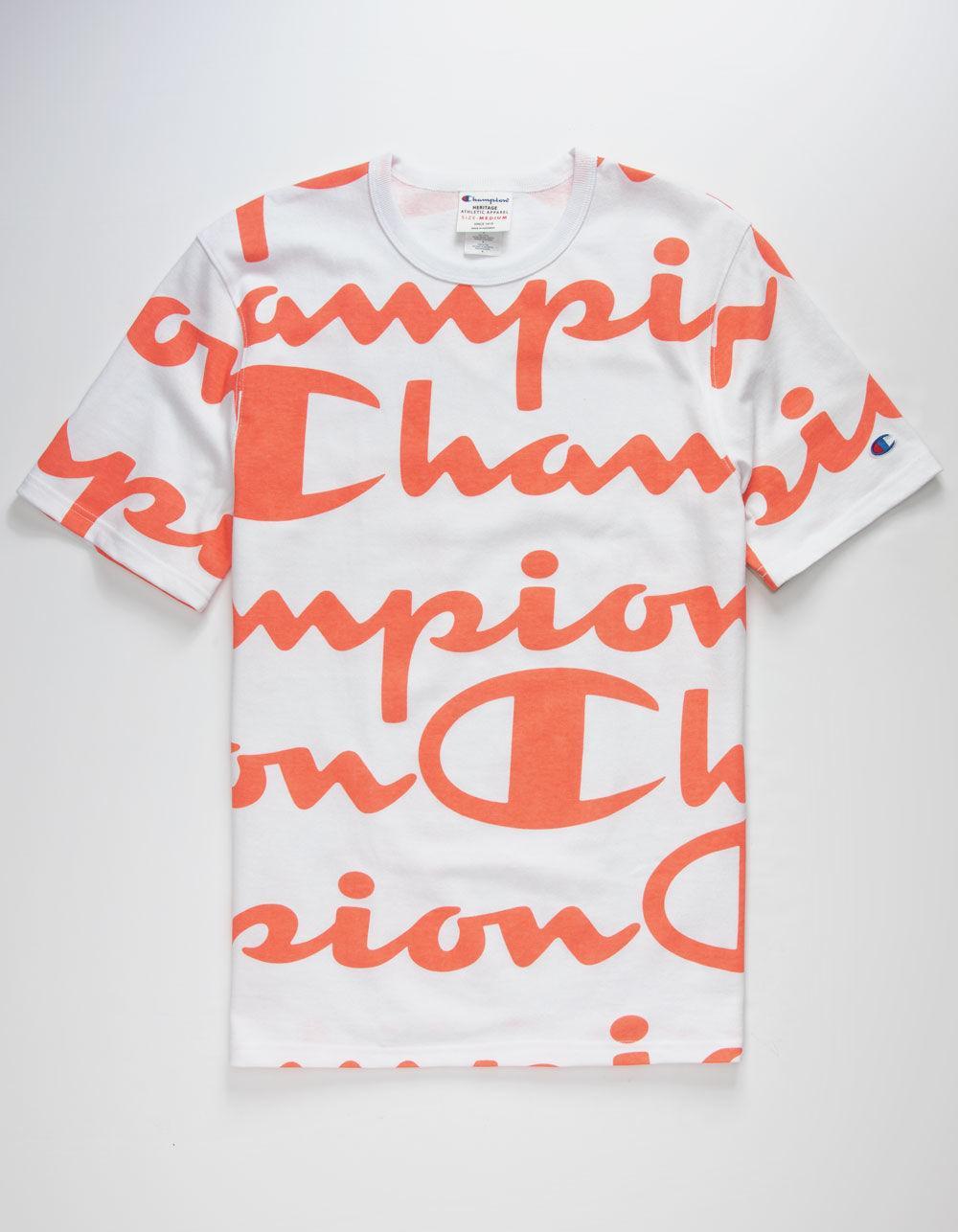 153eb471 Lyst - Champion Allover Script Coral & White Mens T-shirt in White ...