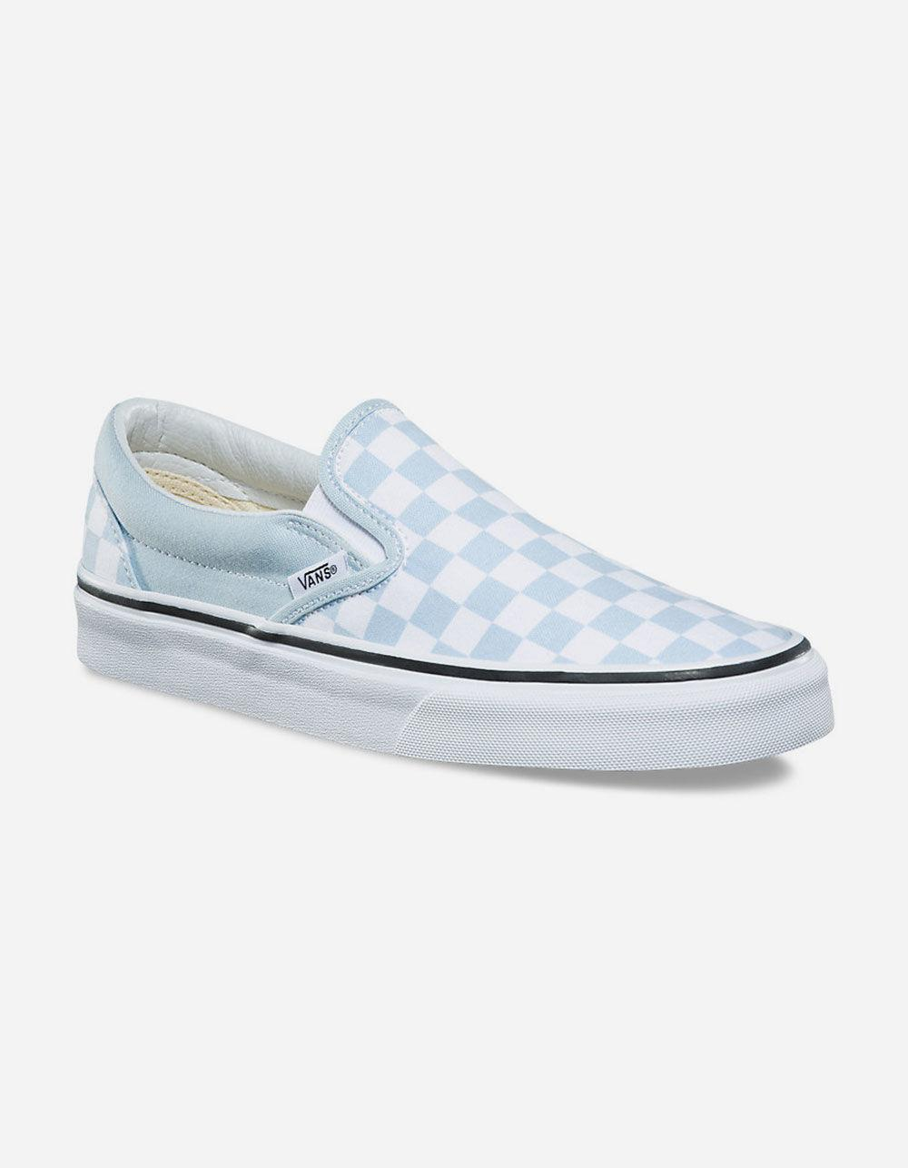 a59d37c780d Lyst - Vans Checkerboard Baby Blue Womens Slip-on Shoes in Blue