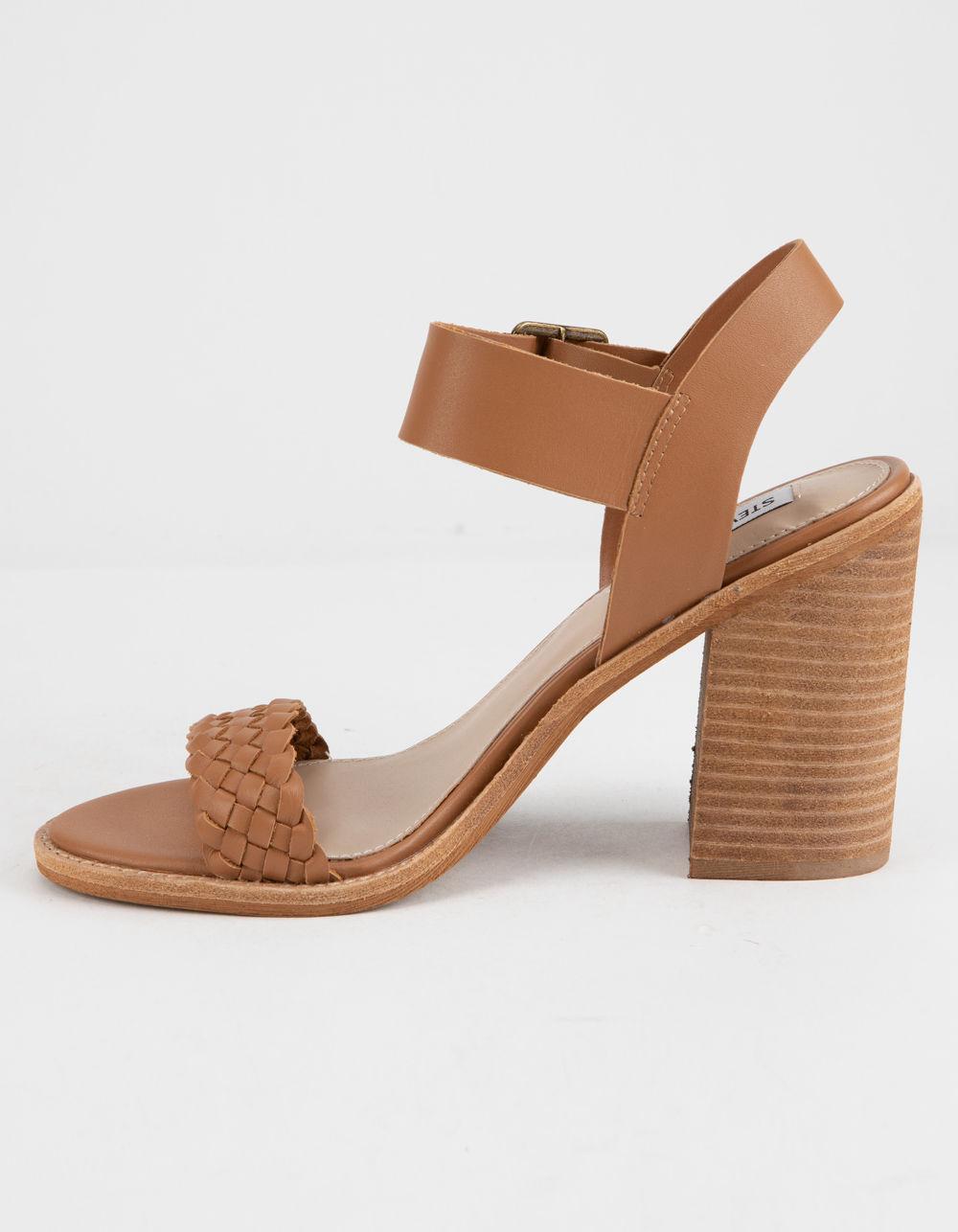 b572e0bc8cf Steve Madden - Brown Cadence Cognac Leather Womens Heeled Sandals - Lyst.  View fullscreen