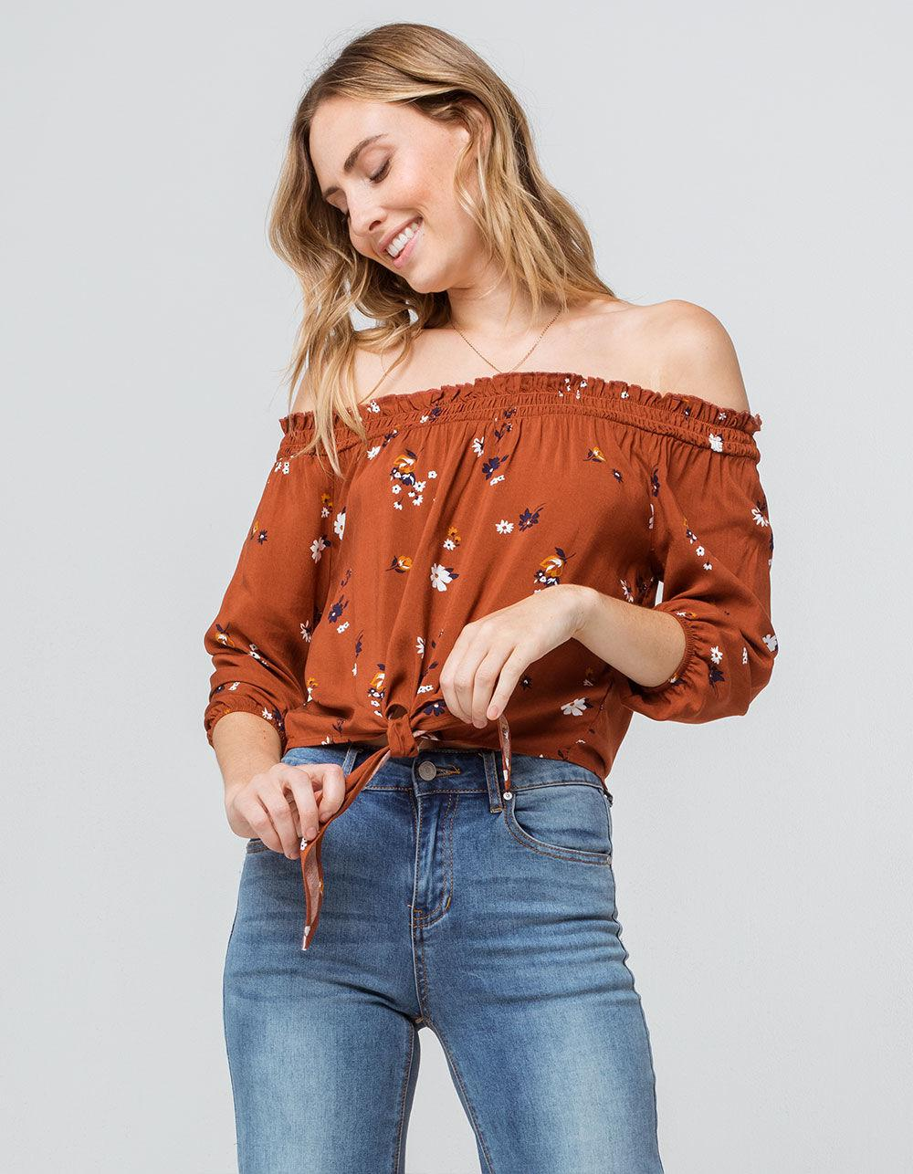 fe697177188d39 Lyst - Mimi Chica Floral Tie Front Rust Womens Off The Shoulder Top