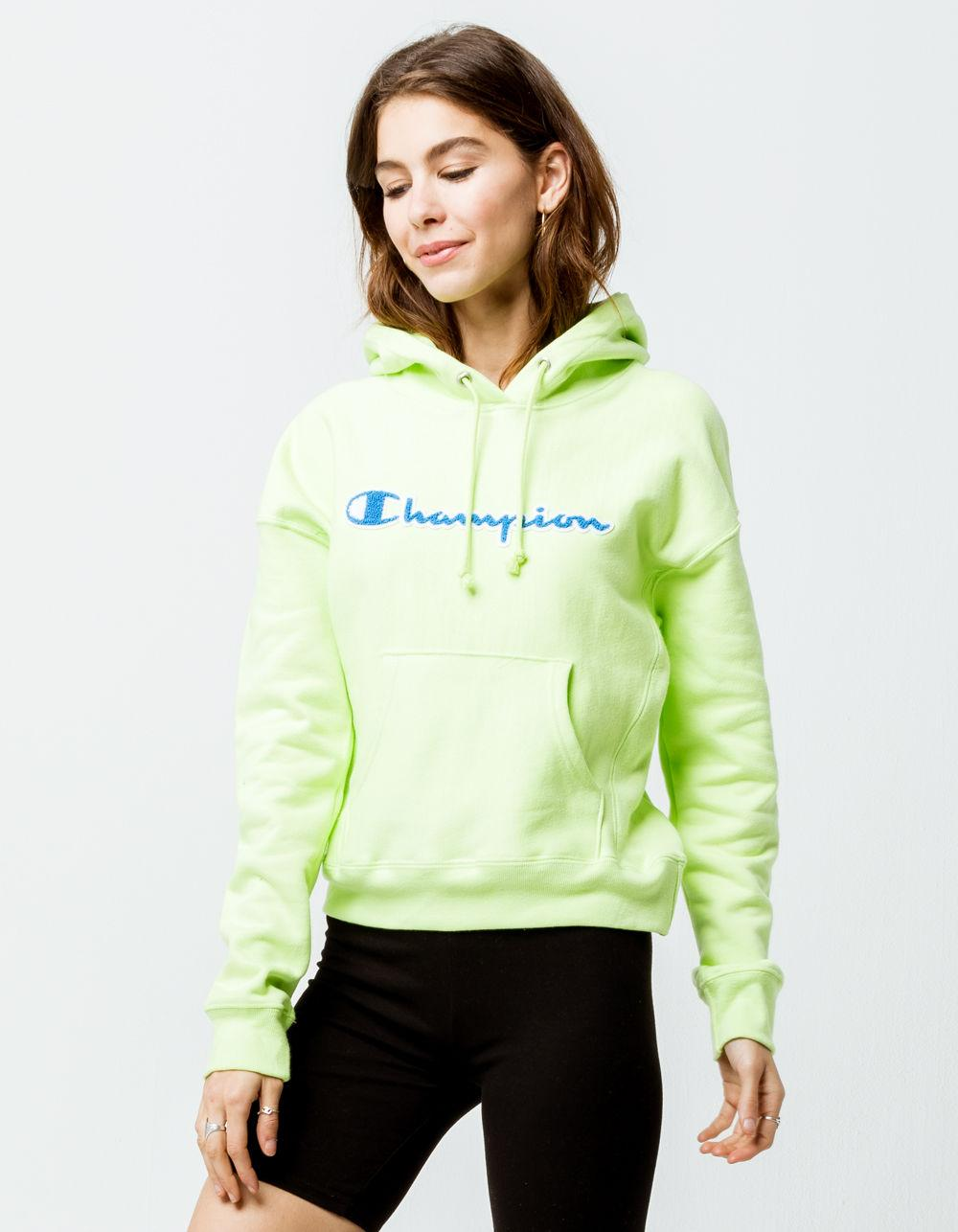newest selection best online low price Green Reverse Weave Chenille Script Lime Womens Hoodie
