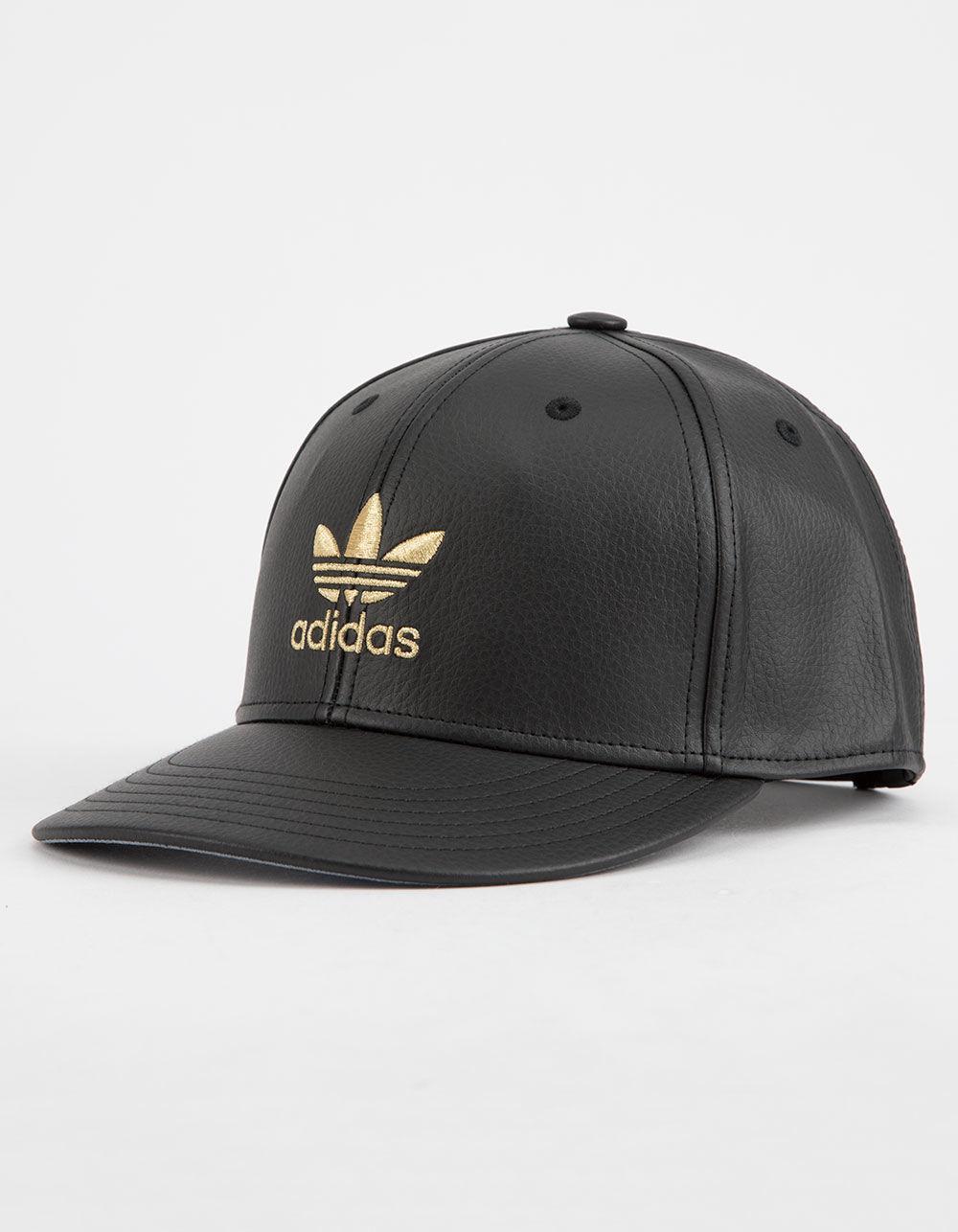 8d0ade78 adidas Original Trefoil Mens Faux Leather Snapback Hat in Black for ...
