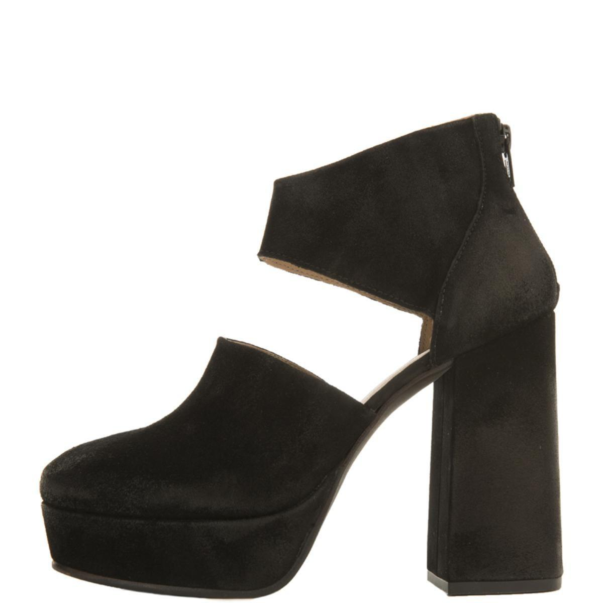 9f89d572281 Lyst - Free People Luxor Suede Platform Heels in Black