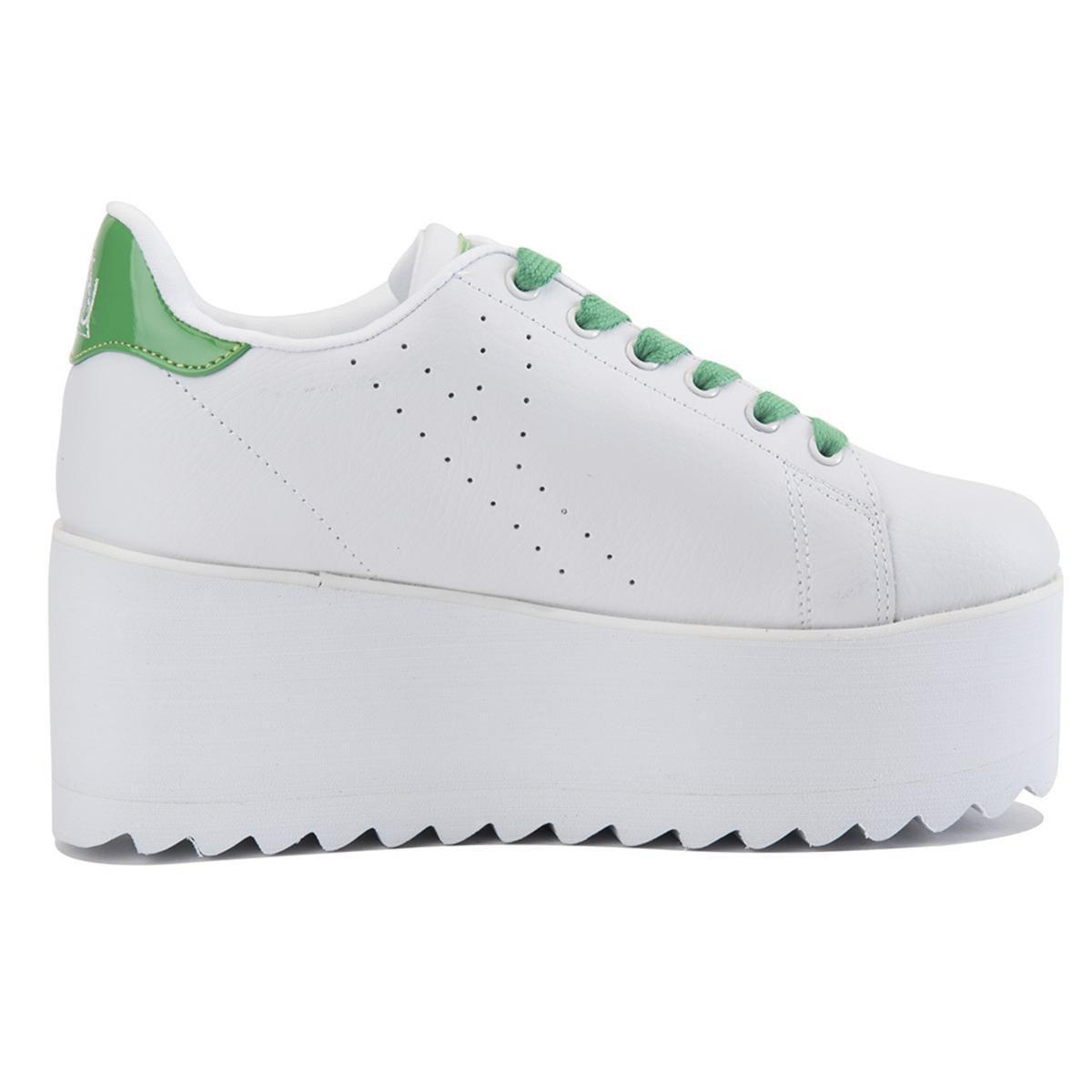 YRU Leather Lala White Green Platform