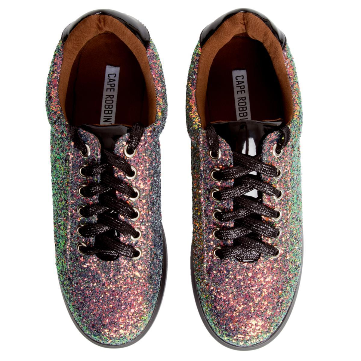 Cape Robbin Womens Future-3 White Sole Lace Up Floral Designer Sneaker