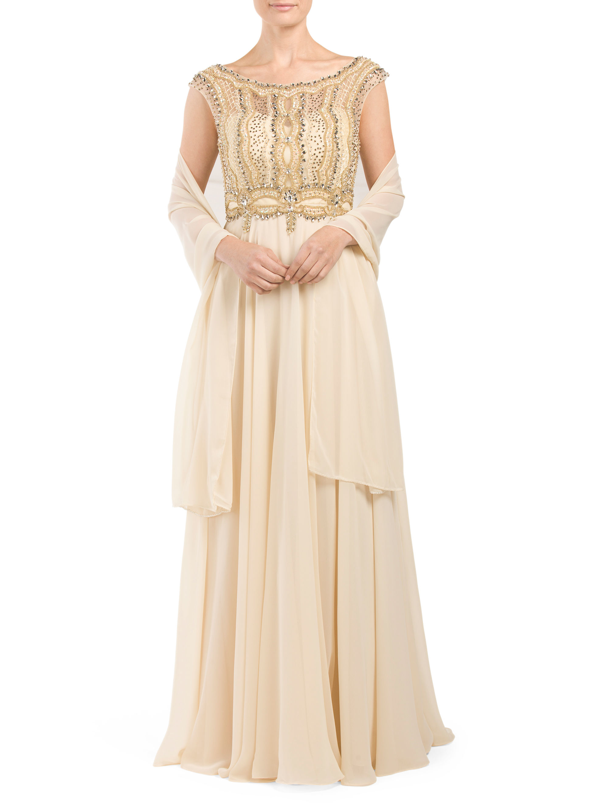 Tj maxx bridal beaded long chiffon gown in natural lyst for Tj maxx wedding guest dresses