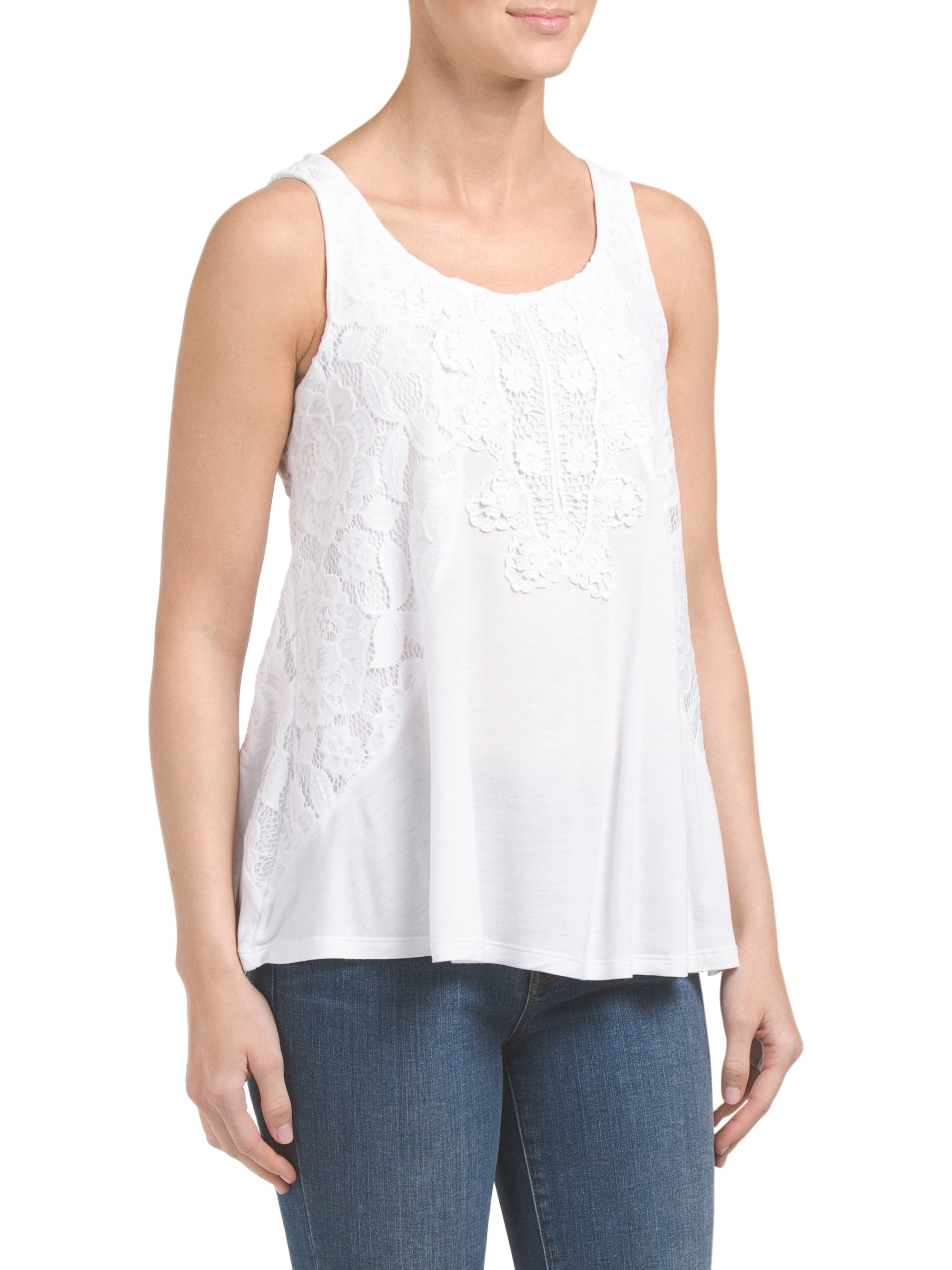 Tj maxx sleeveless top with crochet in white lyst for Tj maxx t shirts