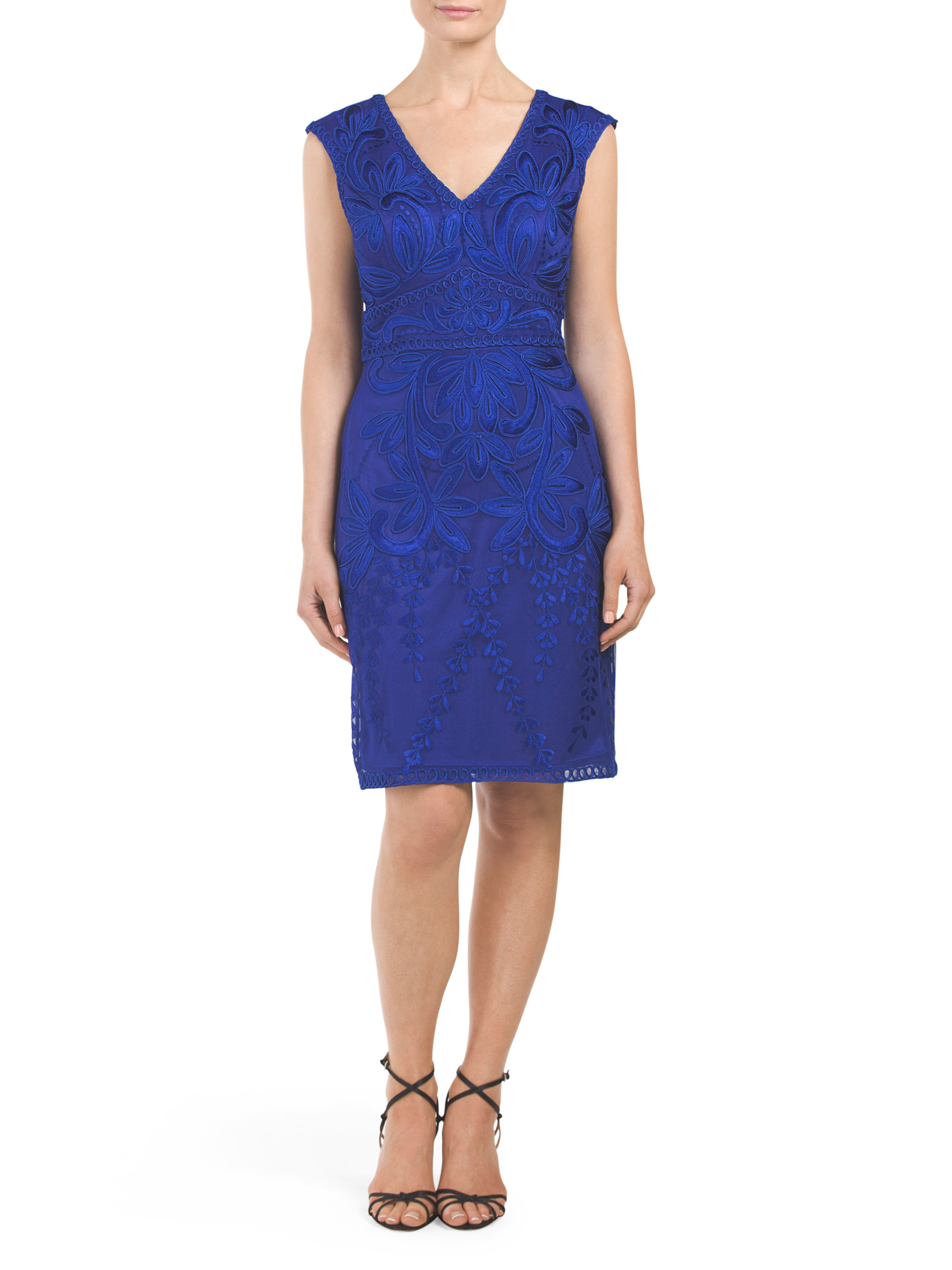 Tj maxx v neck soutache dress in blue lyst for Tj maxx t shirts
