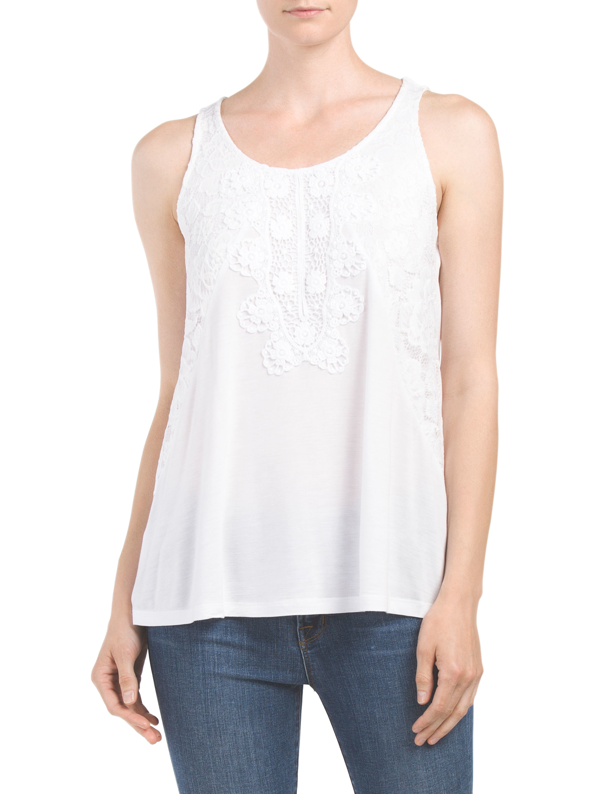 Tj maxx scoop neck top with crochet in white lyst for Tj maxx t shirts