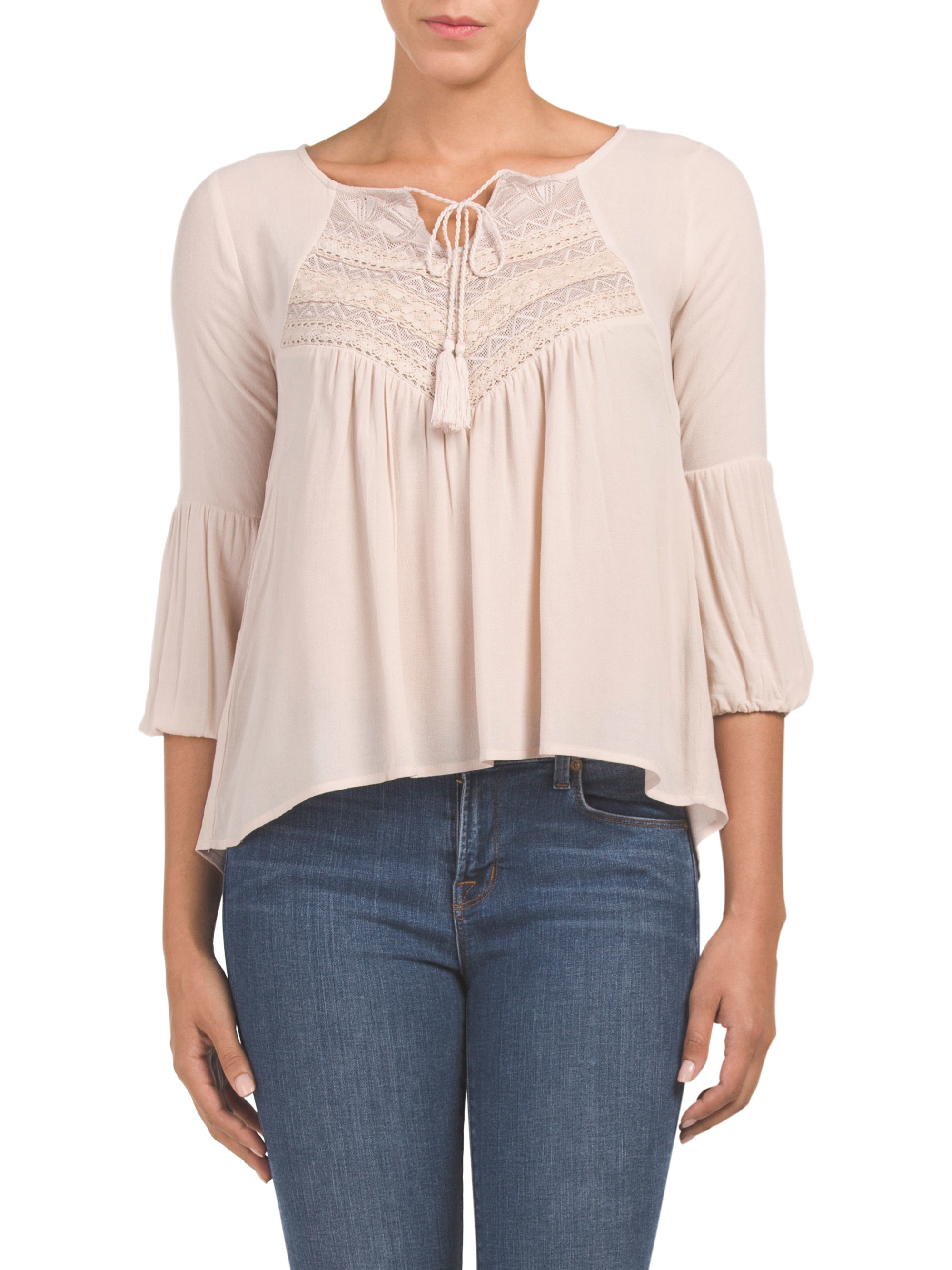 Tj maxx embroidered tassel front blouse in pink lyst for Tj maxx t shirts