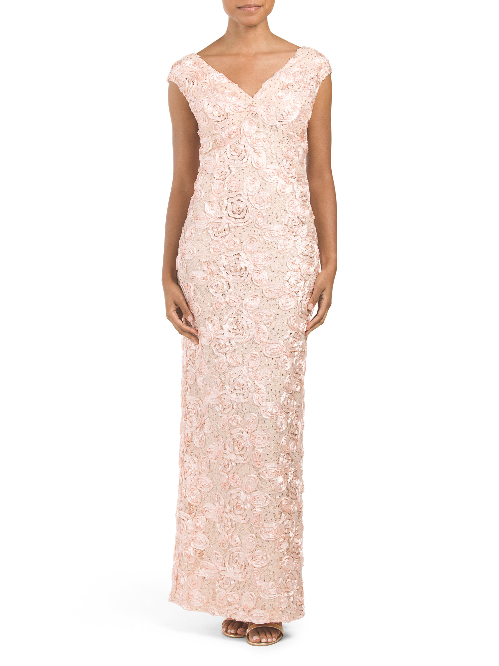 Tj Maxx Made In Usa Glitter Soutache Gown In Pink Lyst