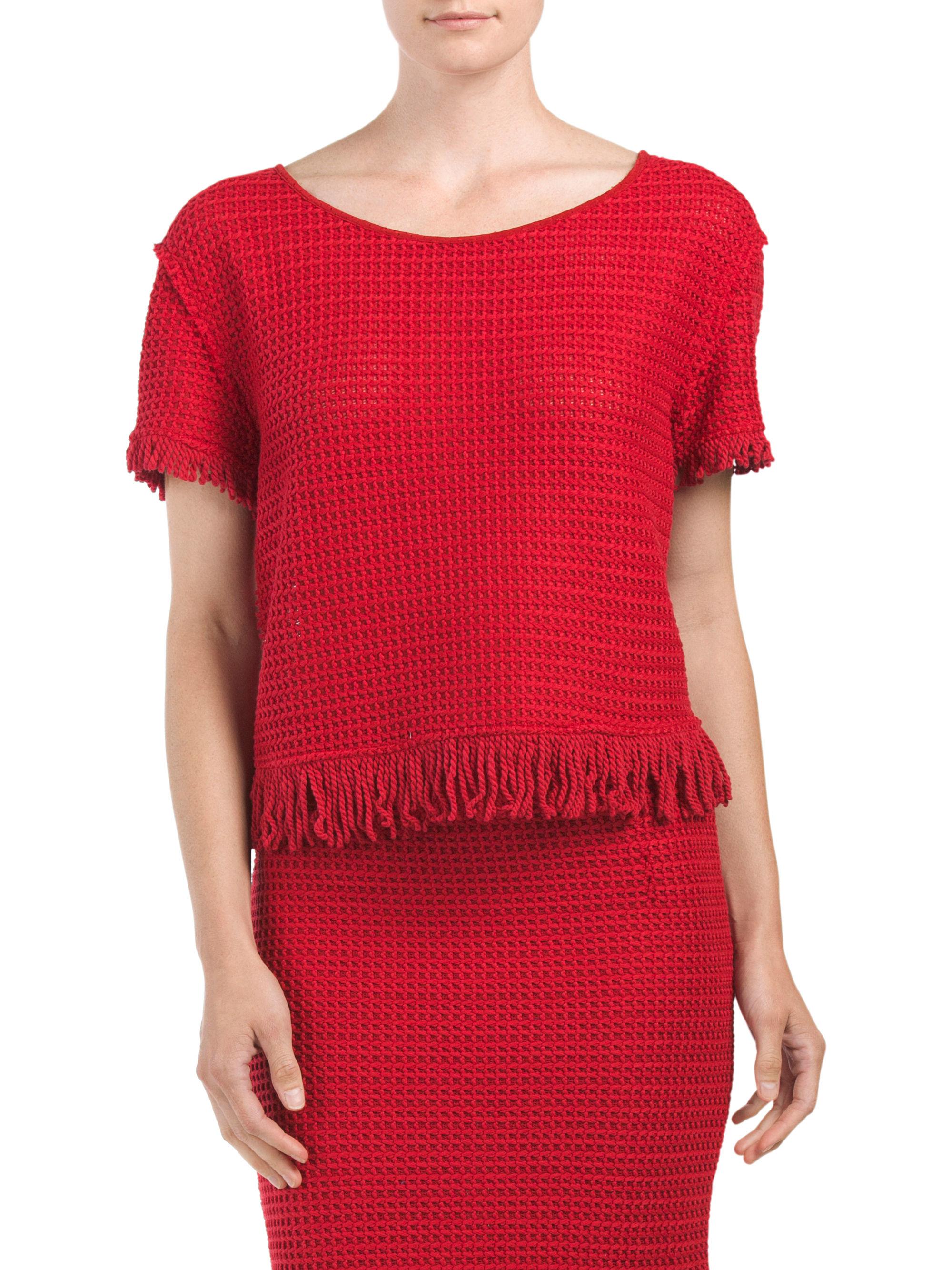 Tj maxx fringe tee in red lyst for Tj maxx t shirts