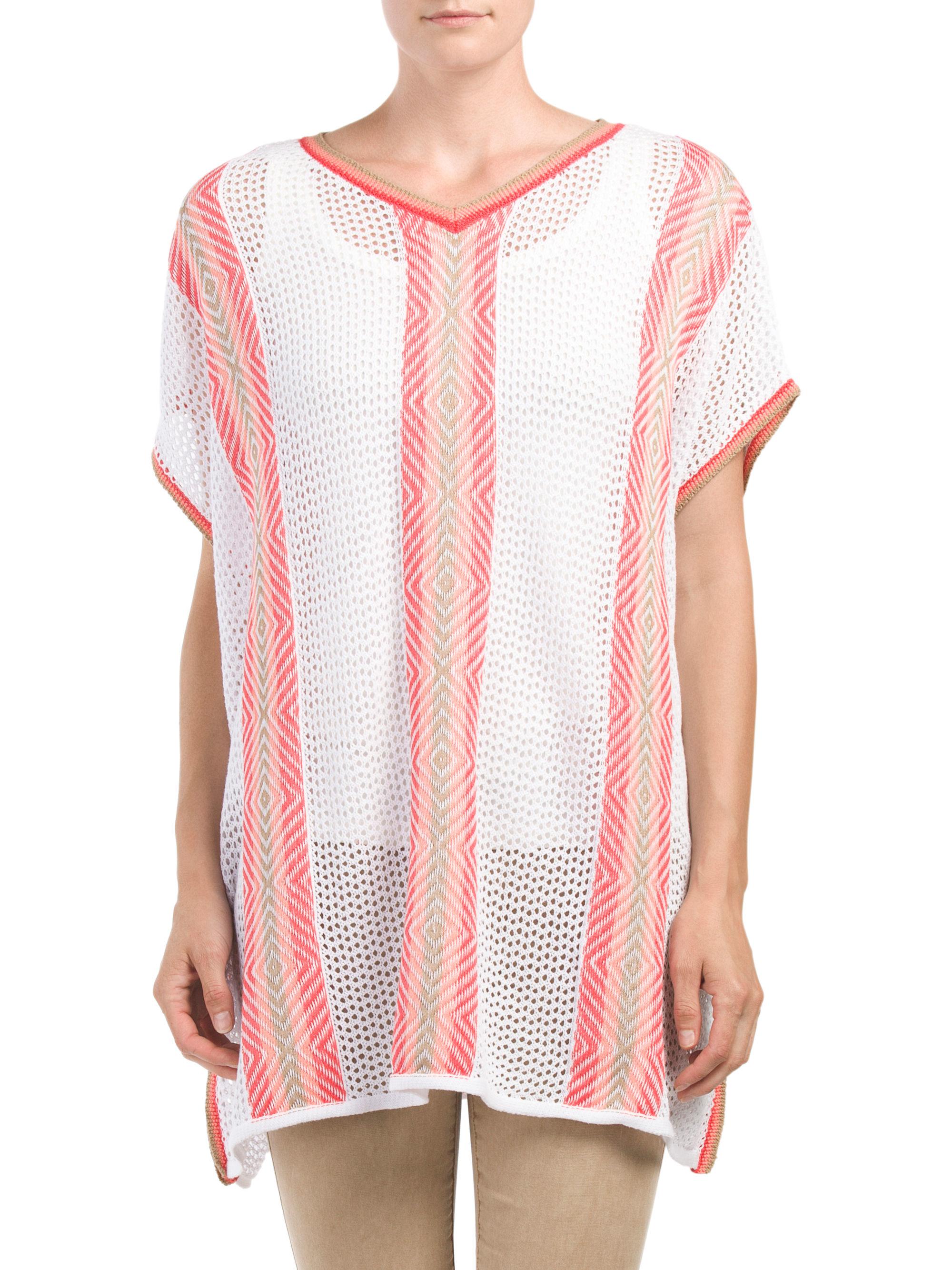 Lyst tj maxx open crochet poncho in pink for Tj maxx t shirts