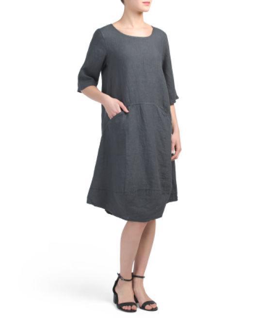 8f456f3250 Lyst - Tj Maxx Made In Italy 2 Pocket Easy Linen Midi Dress in Gray