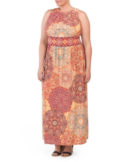b61f143239ed4 Lyst - Tj Maxx Plus Indian Dahlias Maxi Dress in Orange