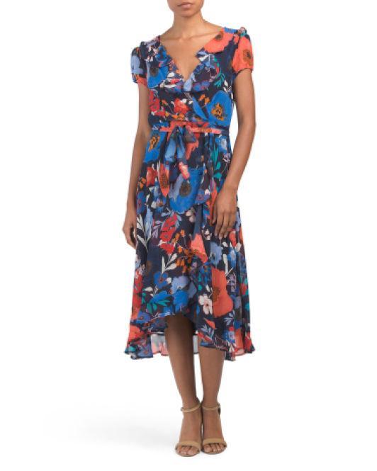 c64eff6242e Lyst - Tj Maxx Floral Ruffle Chiffon Midi Dress in Blue