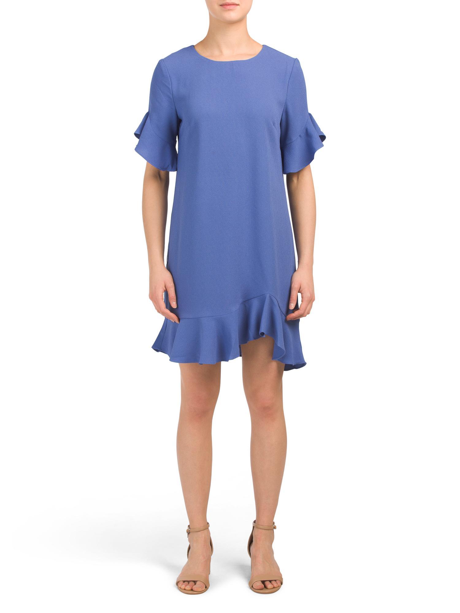 d230d3783afc Tj Maxx Made In Usa Ruffle Detail Shift Dress in Blue - Lyst