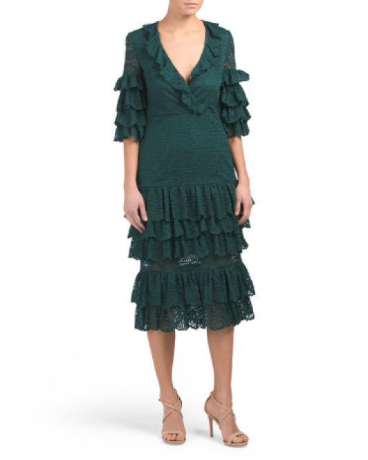 6555ca0a7e675 Lyst - Tj Maxx Millie Deep V Lace Midi Dress in Green