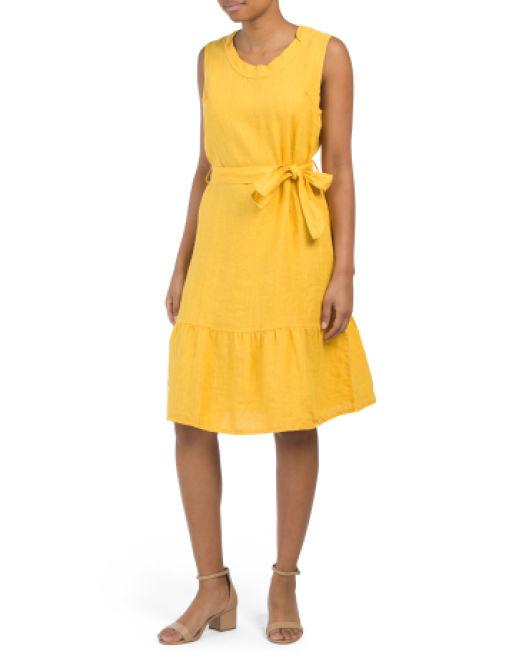 05efb85209f Lyst - Tj Maxx Made In Italy Linen Tie Front Dress in Yellow