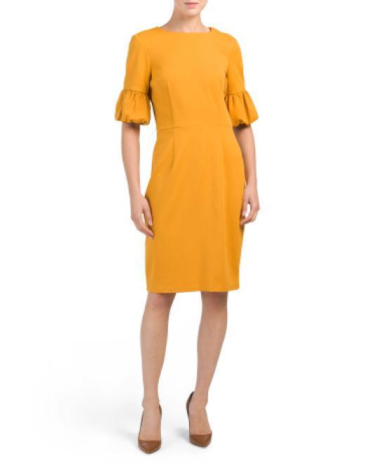 c958fa406f21 Lyst - Tj Maxx Crepe Bubble Sleeve Dress in Yellow