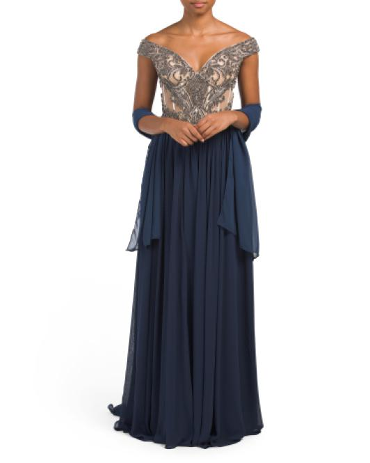 da78baa2ed84 Tj Maxx Couture Collection Corset Gown in Blue - Lyst