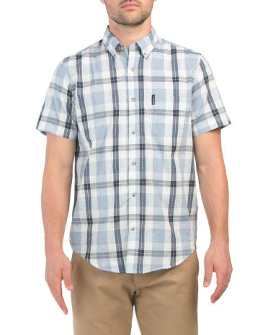 c7f928326 Lyst - Tj Maxx Short Sleeve Dogtooth Check Shirt in Blue for Men