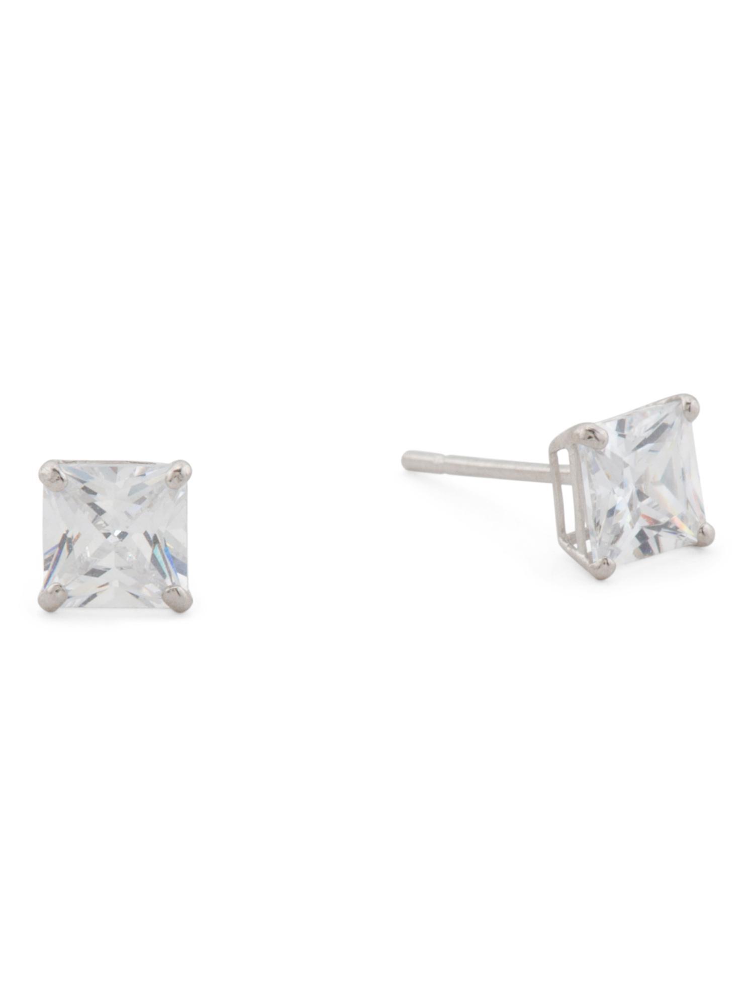 1f50a33e30654 Tj Maxx 14k Gold 4mm Square Cut Cz Stud Earrings in Metallic - Lyst