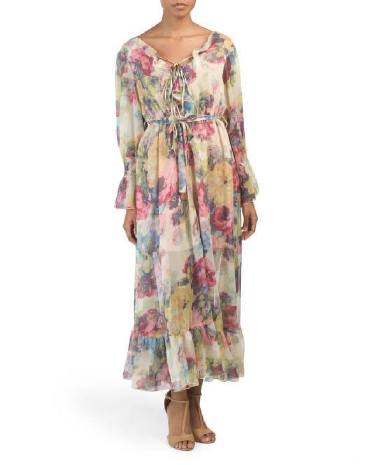 f426c845594c7 Tj Maxx. Women's Tie Front Floral Maxi Dress