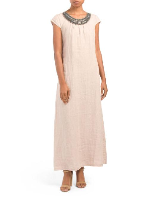 f67371aaa4a Tj Maxx. Women s Made In Italy Linen Embellished Neck Maxi Dress