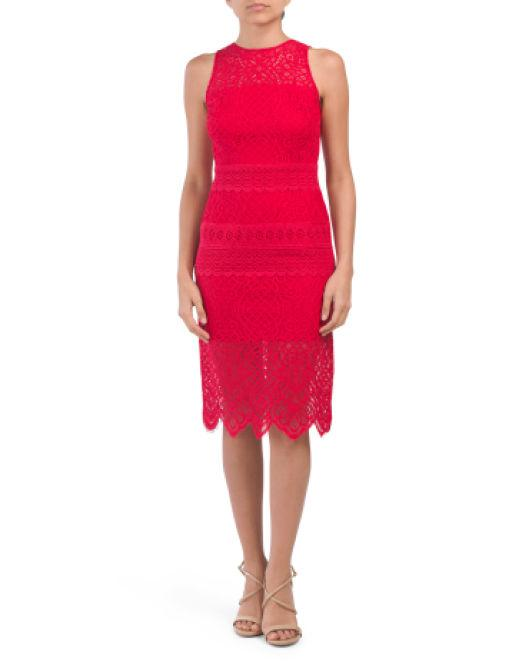 d681af9adb8b Lyst - Tj Maxx Petite Lace Border Sheath Dress in Red