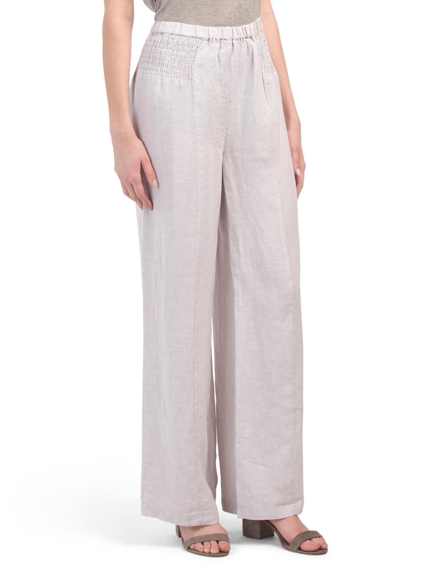 69b4d9444f2fd7 Tj Maxx - Multicolor Linen Pull On Smocked Waist Pants - Lyst. View  fullscreen