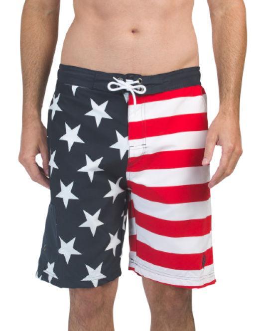 Horizon-t Beach Shorts American Flag Mens Fashion Quick Dry Beach Shorts Cool Casual Beach Shorts