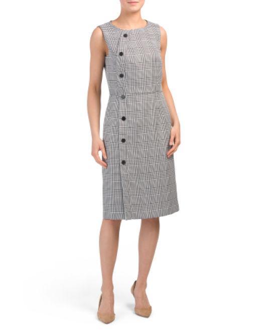 2a5bcc5c Lyst - Tj Maxx Sleeveless Plaid Crepe Sheath Dress in Black