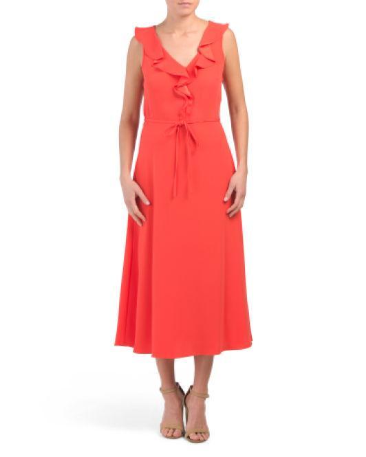 9f2e8ddb740 Lyst - Tj Maxx V-neck Ruffle Midi Dress in Red