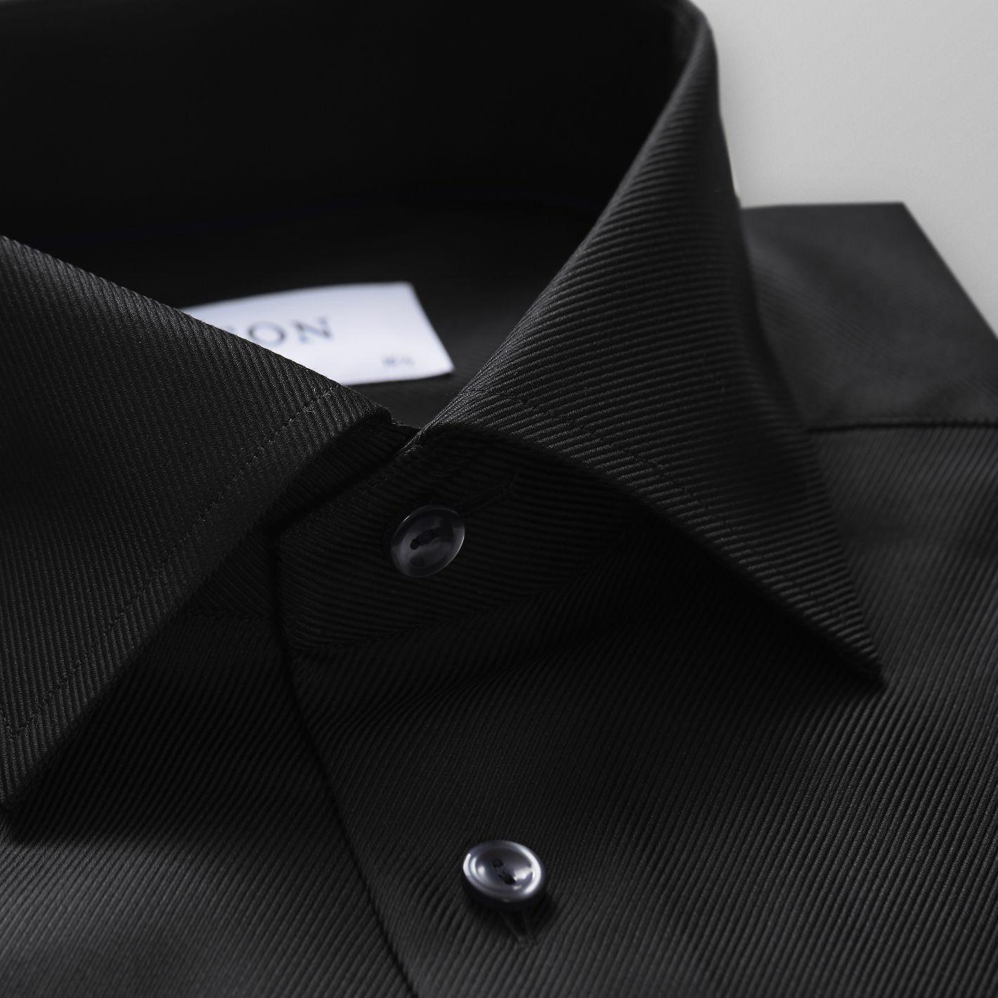 Eton of Sweden Overhemd Twill Textuur Contemporary Fit Cutaway in het Zwart voor heren