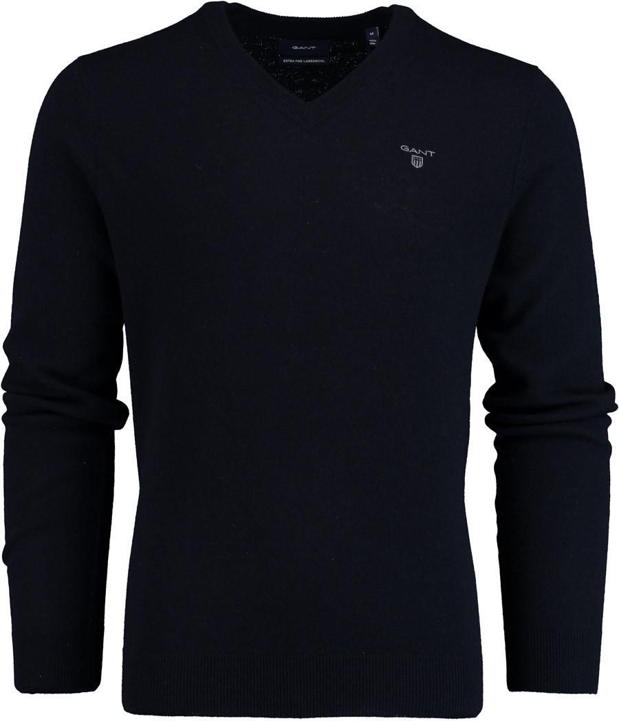 GANT Extrafine Lambswool V-neck 8010520/410 in het Blauw voor heren