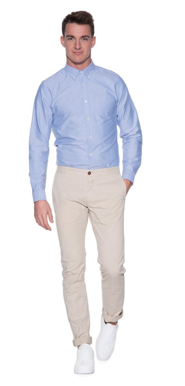 Closed Casual Overhemd Met Lange Mouwen in het Blauw voor heren