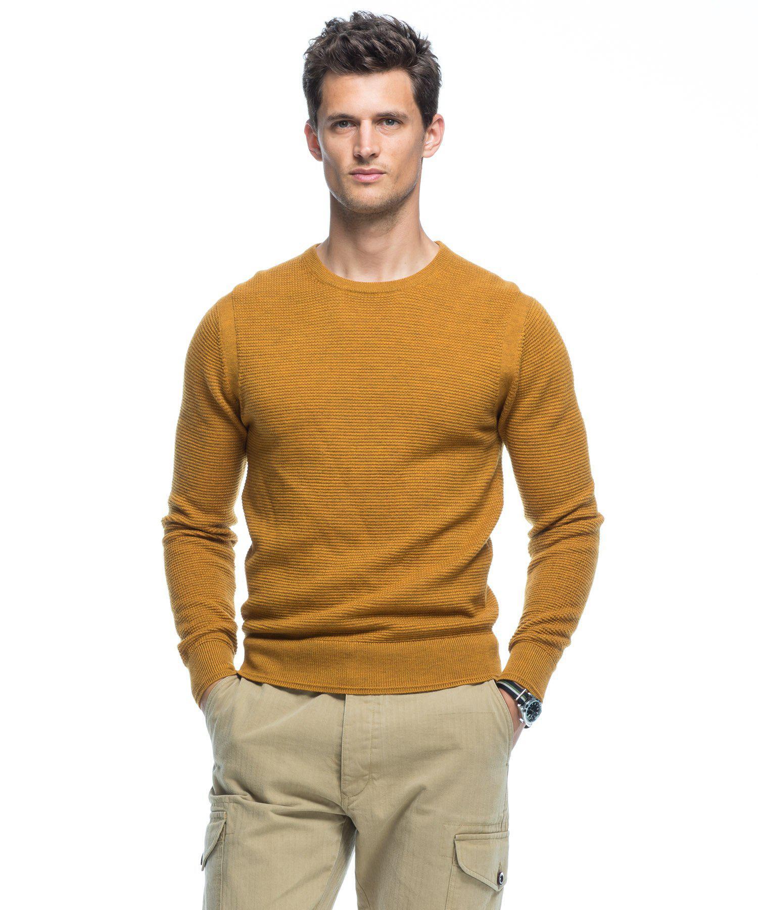 Todd snyder Italian Merino Thermal Crewneck Sweater In Mustard ...