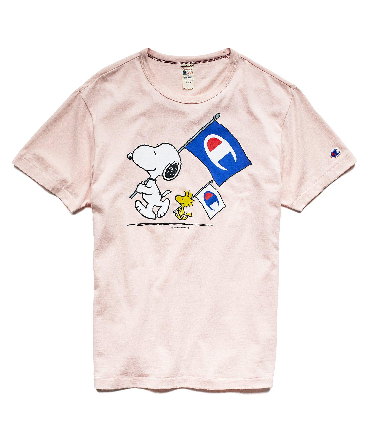 303db57b Todd Snyder Champion X Peanuts Snoopy And Woodstock Flag Tee In ...