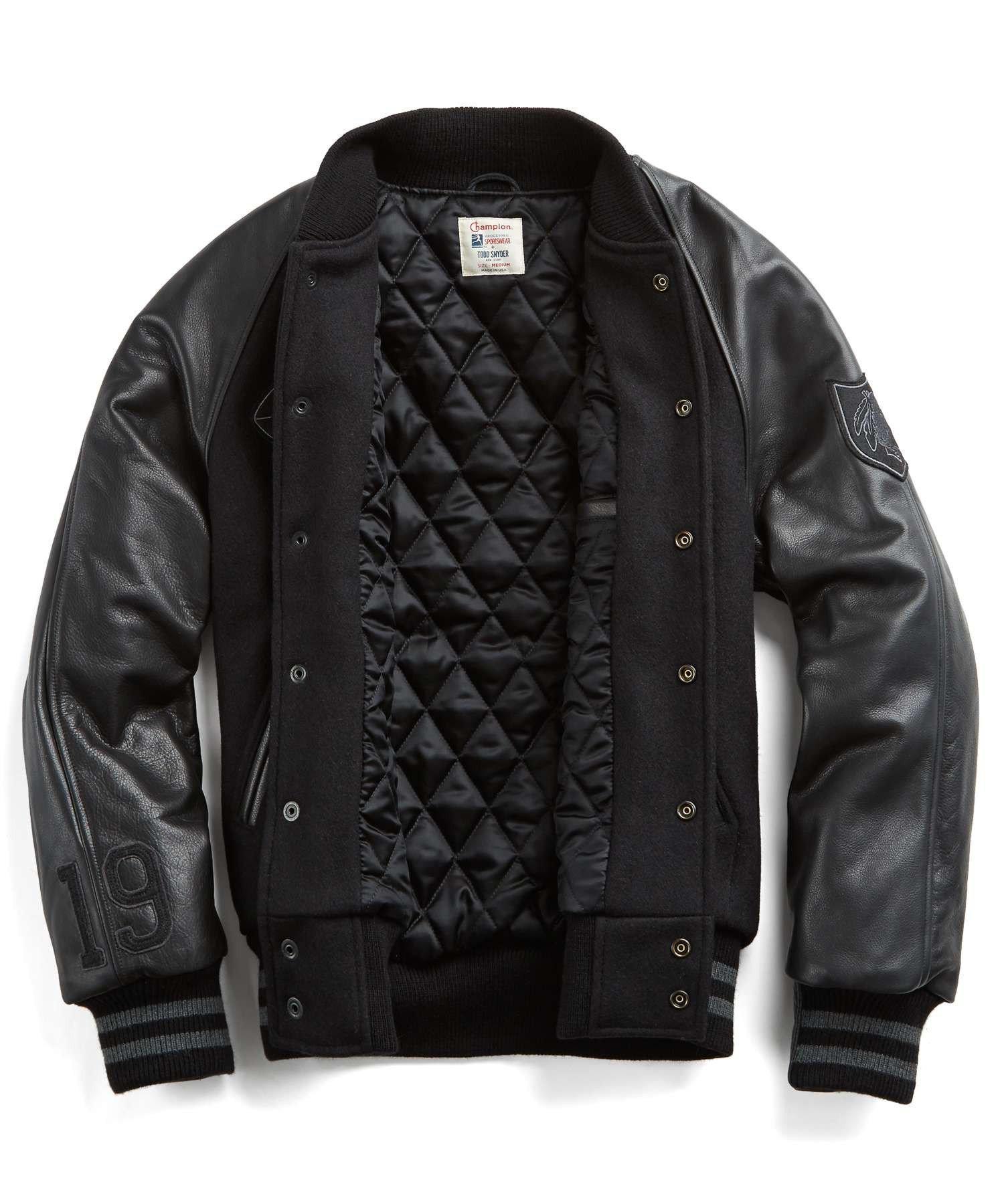 Wool varsity jacket with leather sleeves