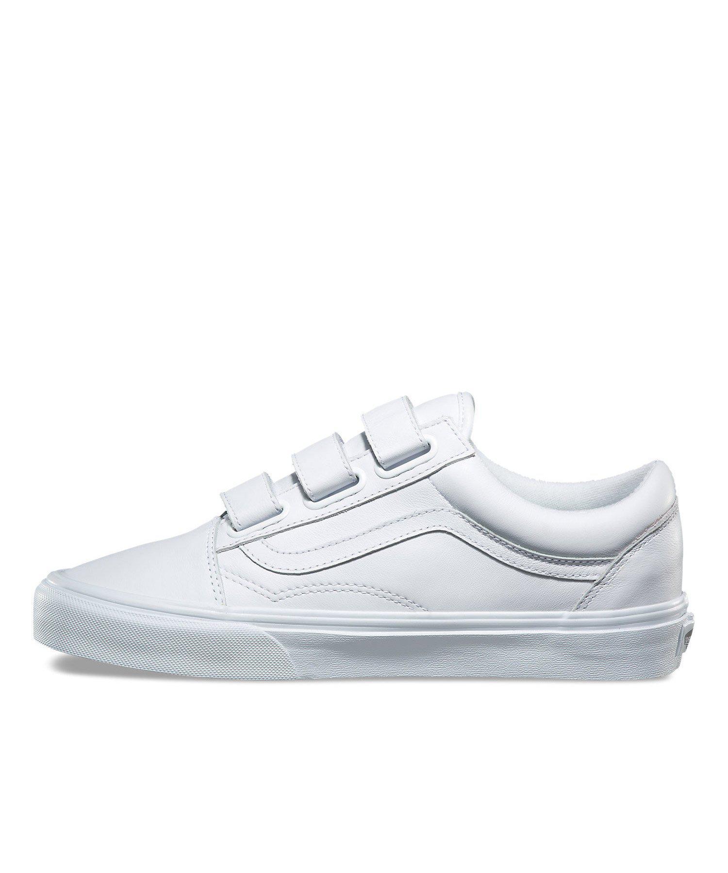 Lyst - Vans Old Skool V Mono Leather In True White in White for Men ef4484731