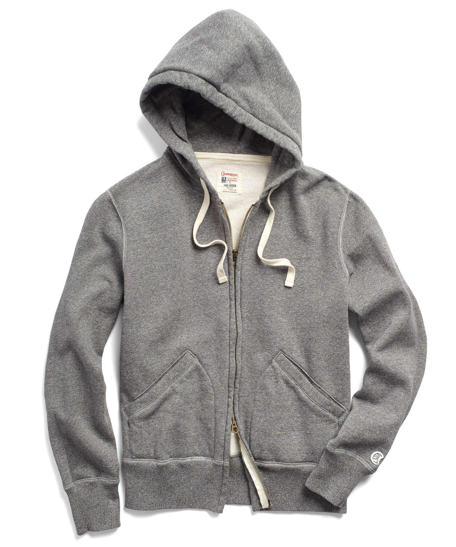f01d47630795 Lyst - Todd Snyder Classic Fullzip Hoodie In Salt And Pepper in Gray ...