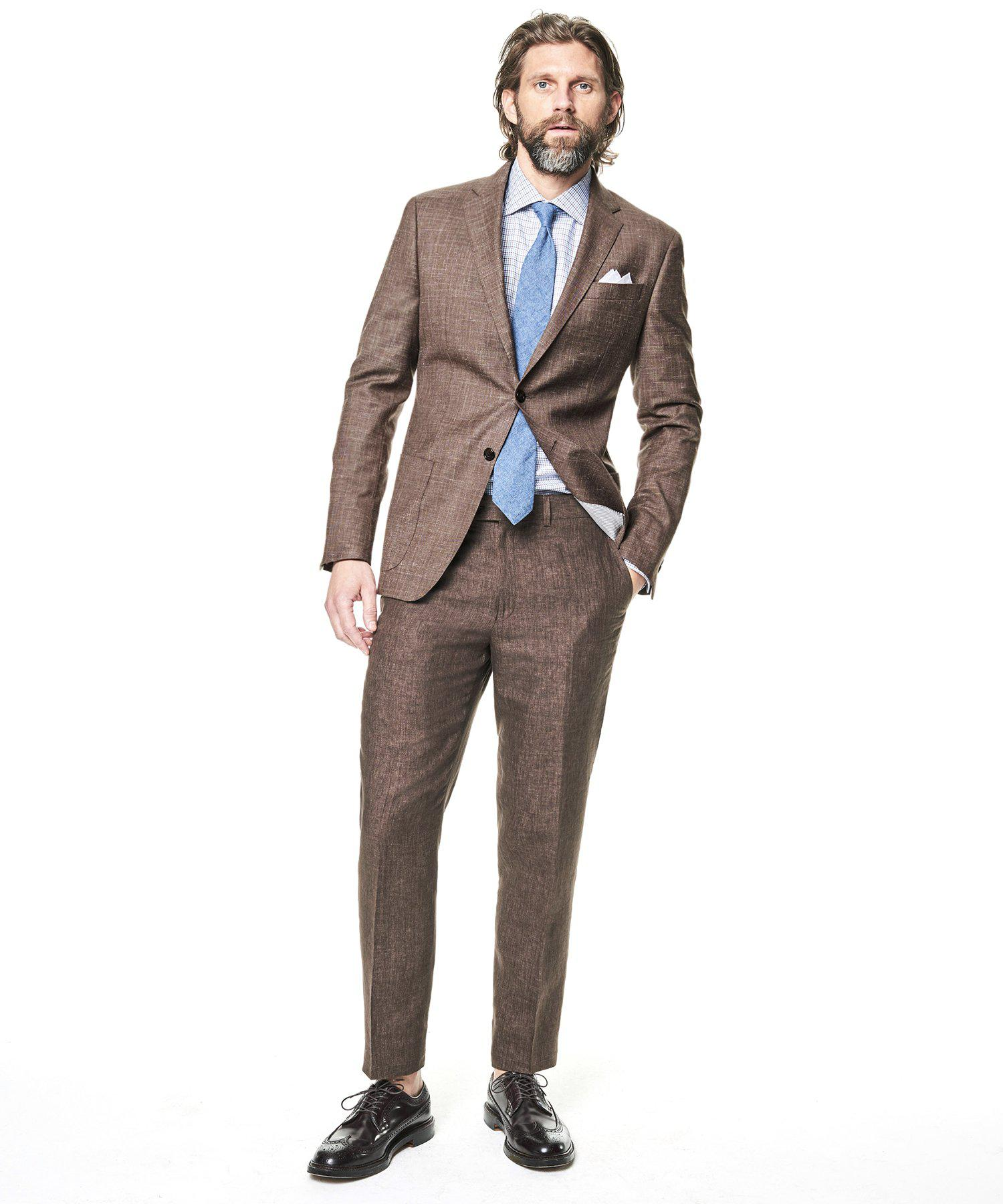 Todd Synder X Champion Sutton Linen Suit Trouser In Brown for Men