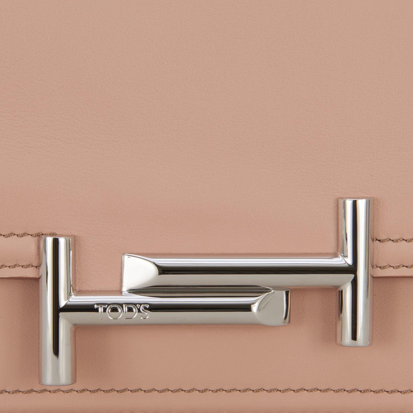 Tod's Leather Double T Mini Crossbody Bag in Beige (Natural)