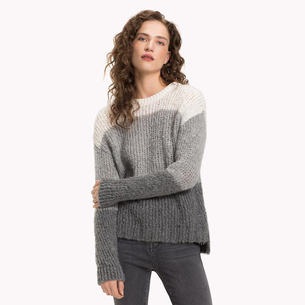 fd587cf8c Tommy Hilfiger Chunky Knit Crew Neck Jumper in Gray - Lyst