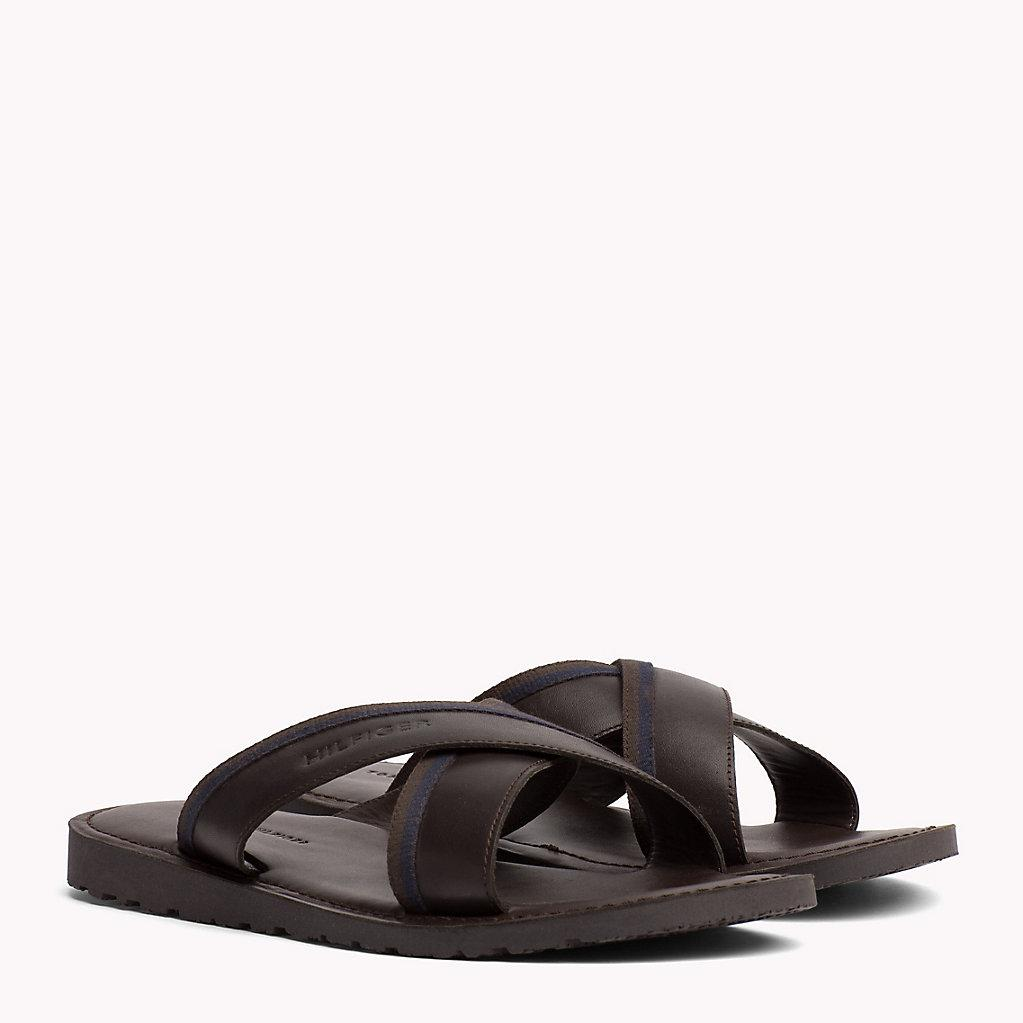 3f1bbc5c8 Tommy Hilfiger Leather Cross Strap Sandals in Black for Men - Lyst