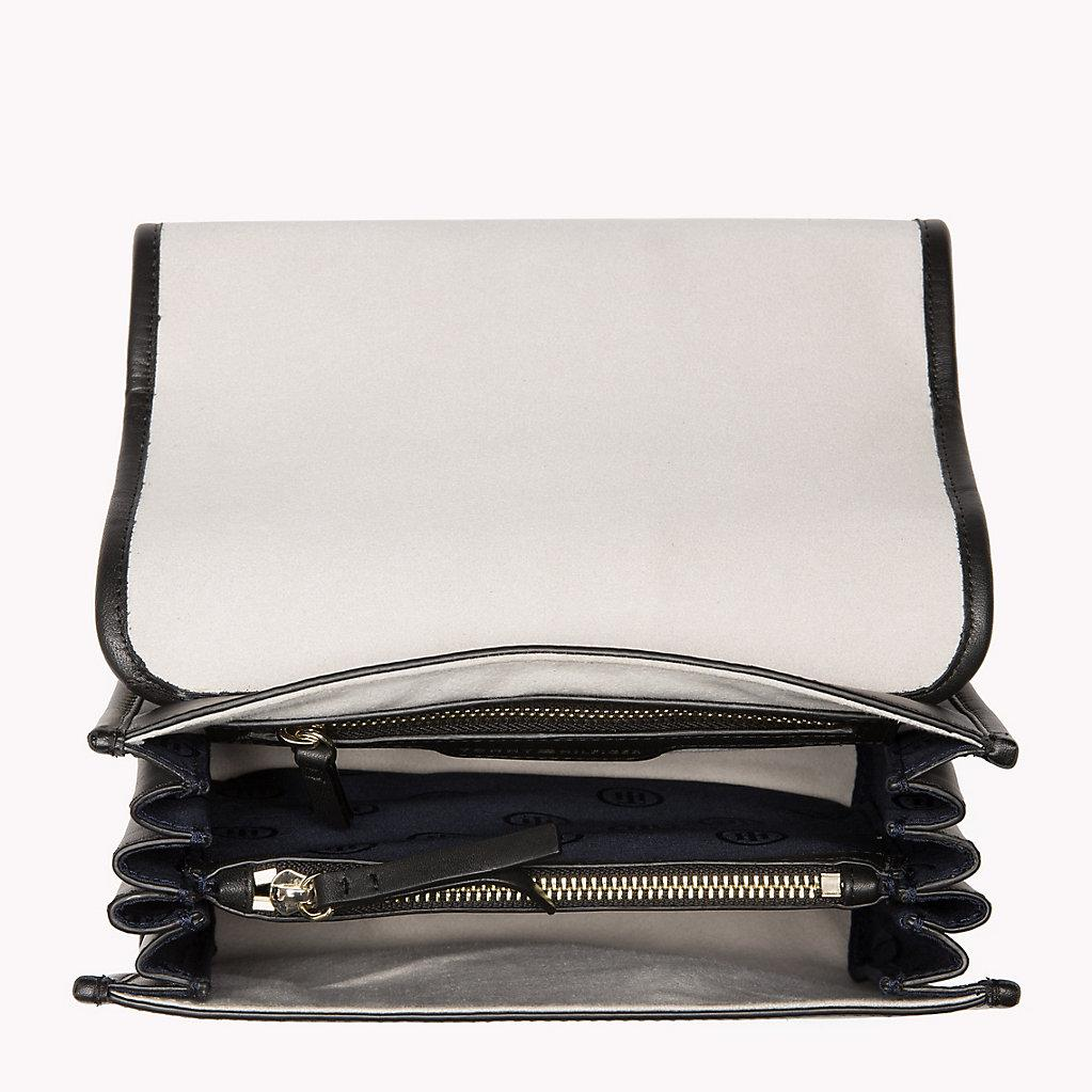 58948443a504 Tommy Hilfiger Buckle Leather Crossover Bag in Black - Lyst