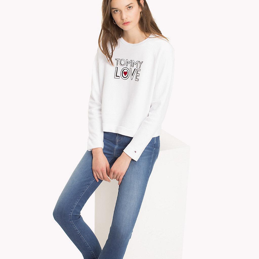 9ab9f306 Tommy Hilfiger Heart On Sleeve Sweatshirt in White - Lyst