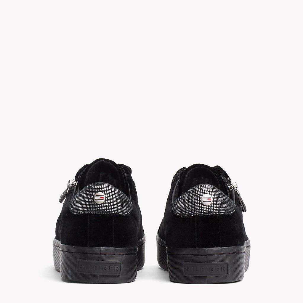 tommy hilfiger zipped velvet trainers